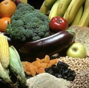 fibra, frutas y verduras
