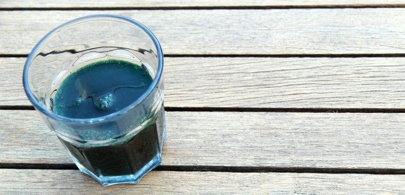 vaso de alga de espirulina
