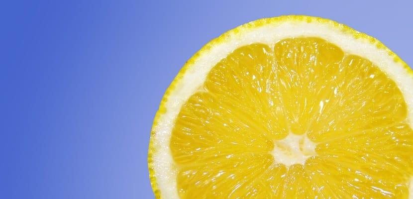 rodaja de limón fondo azul